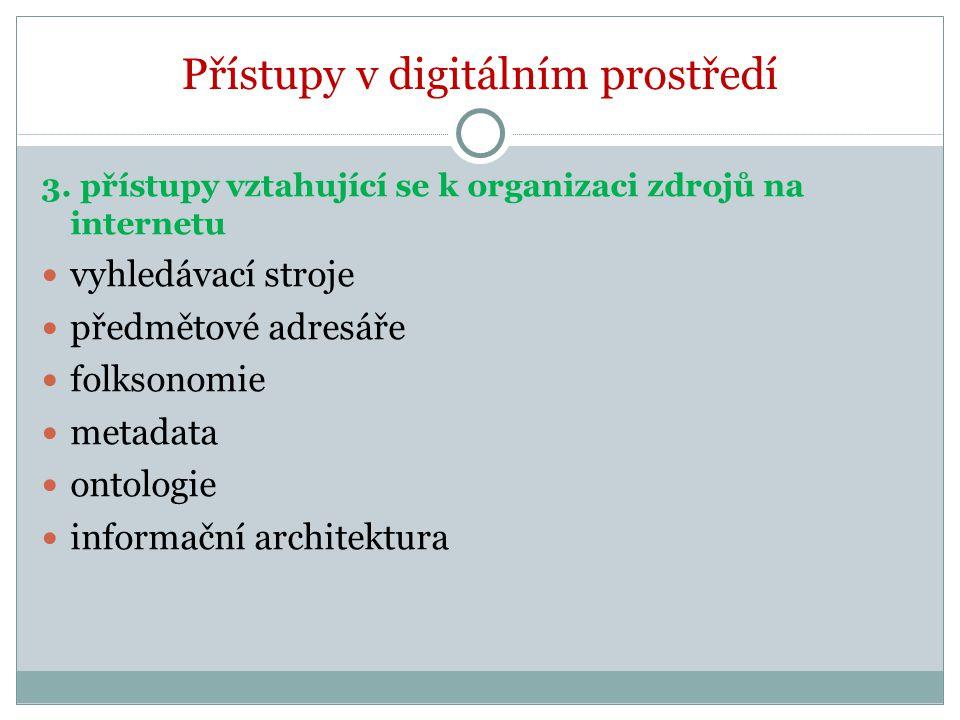 Přístupy v digitálním prostředí 3. přístupy vztahující se k organizaci zdrojů na internetu vyhledávací stroje předmětové adresáře folksonomie metadata
