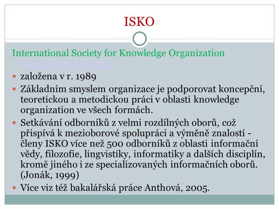 ISKO International Society for Knowledge Organization http://www.isko.org/ http://www.isko.org/ založena v r. 1989 Základním smyslem organizace je pod