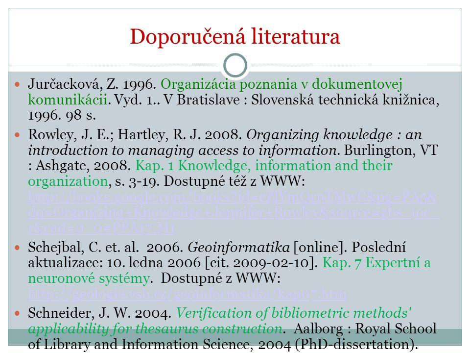 Doporučená literatura Jurčacková, Z. 1996. Organizácia poznania v dokumentovej komunikácii. Vyd. 1.. V Bratislave : Slovenská technická knižnica, 1996
