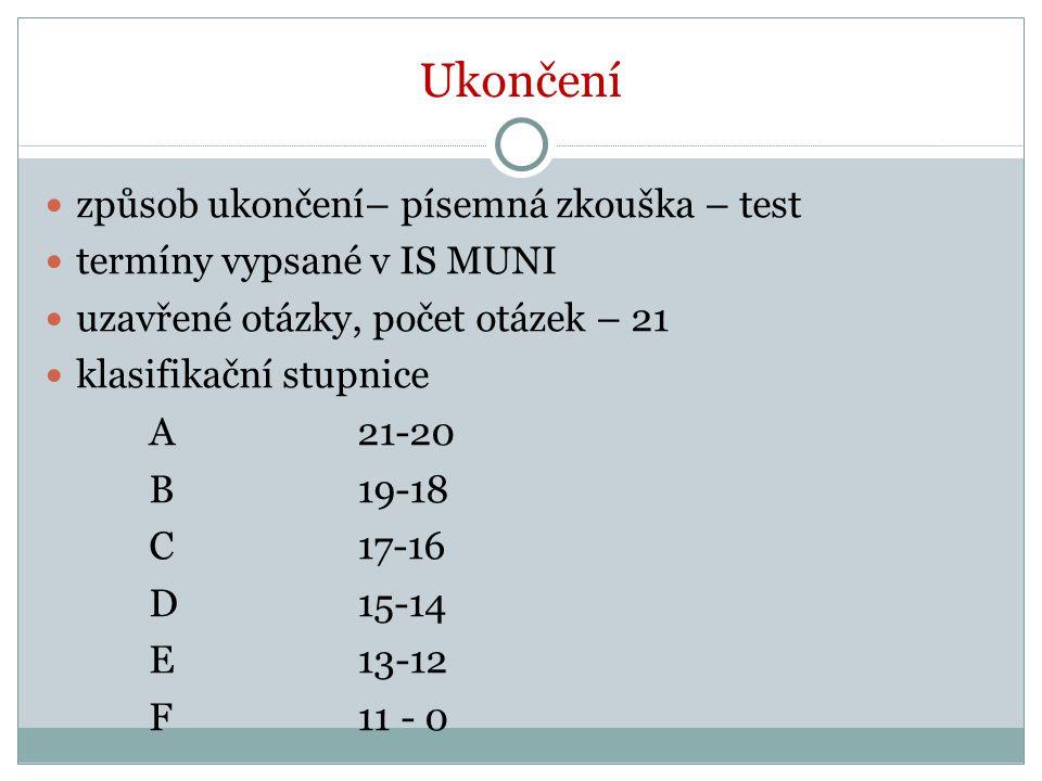 Ukončení způsob ukončení– písemná zkouška – test termíny vypsané v IS MUNI uzavřené otázky, počet otázek – 21 klasifikační stupnice A21-20 B19-18 C17-