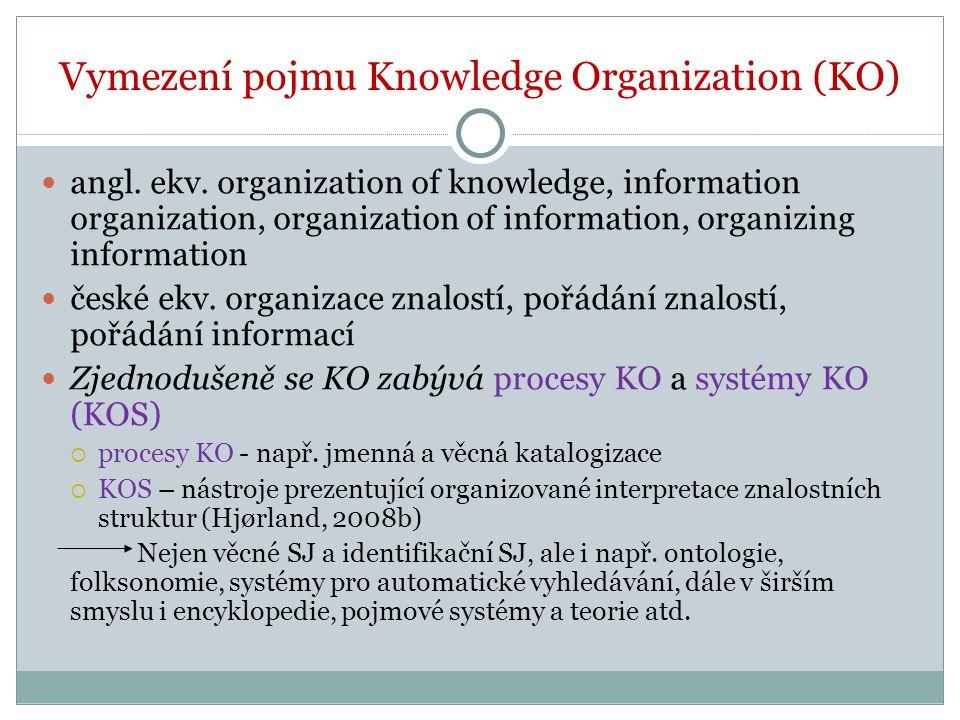 Cíl organizace znalostí Cílem organizace poznání je umožnit, aby se informace či poznatky daly vyhledat.