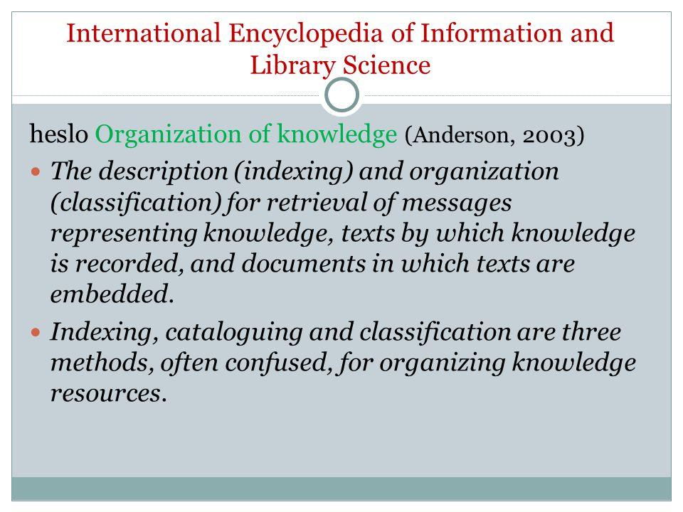 Terminologická databáze TDKIV organizace znalostí ekv k termínu znalostní management Vztah znalostního managementu a KO viz Taylor, 2004, s.
