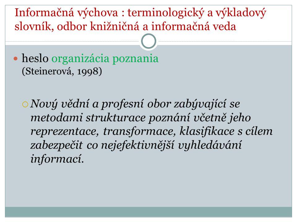 Informačná výchova : terminologický a výkladový slovník, odbor knižničná a informačná veda heslo organizácia poznania (Steinerová, 1998)  Nový vědní