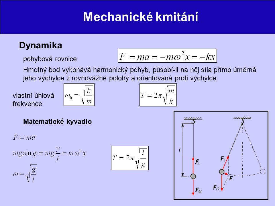 Mechanické kmitání Dynamika pohybová rovnice Hmotný bod vykonává harmonický pohyb, působí-li na něj síla přímo úměrná jeho výchylce z rovnovážné poloh