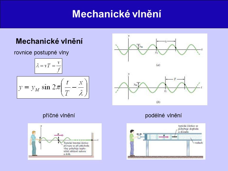 Mechanické vlnění rovnice postupné vlny podélné vlněnípříčné vlnění
