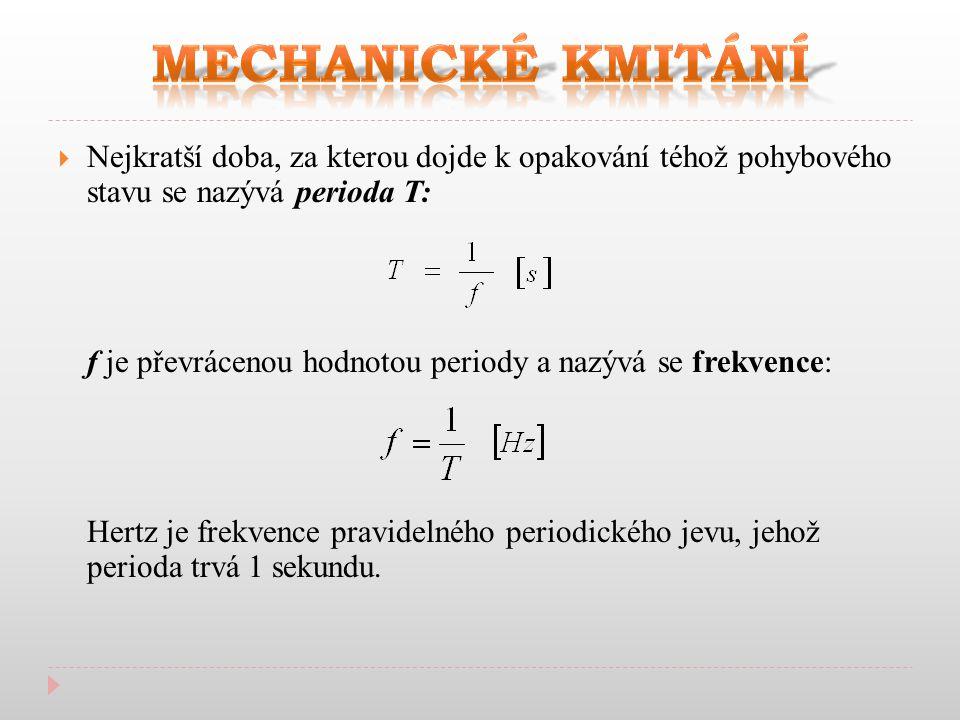  Nejkratší doba, za kterou dojde k opakování téhož pohybového stavu se nazývá perioda T: f je převrácenou hodnotou periody a nazývá se frekvence: Hertz je frekvence pravidelného periodického jevu, jehož perioda trvá 1 sekundu.