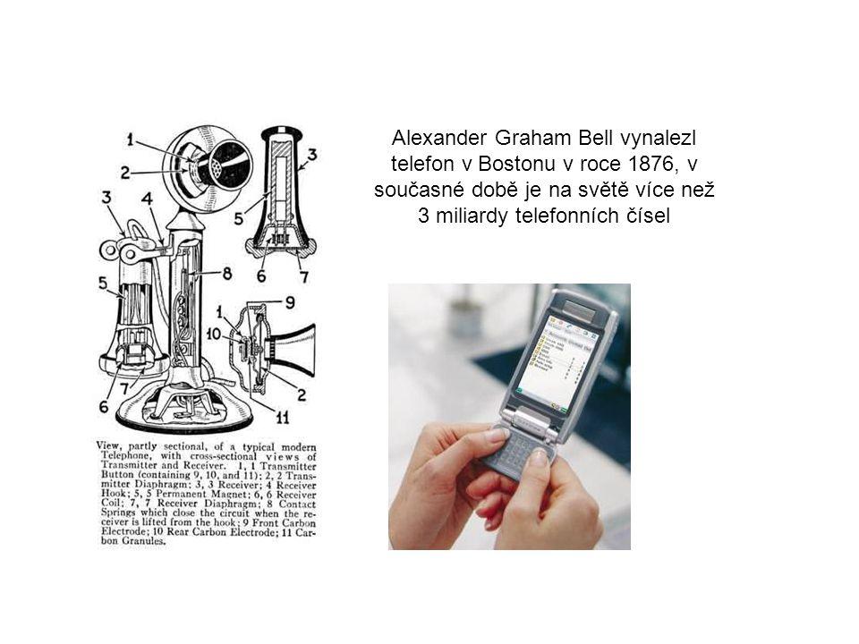 Alexander Graham Bell vynalezl telefon v Bostonu v roce 1876, v současné době je na světě více než 3 miliardy telefonních čísel