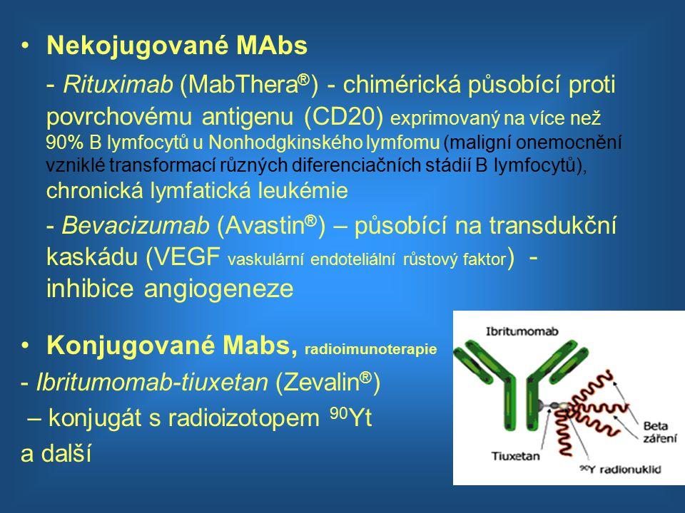 Nekojugované MAbs - Rituximab (MabThera ® ) - chimérická působící proti povrchovému antigenu (CD20) exprimovaný na více než 90% B lymfocytů u Nonhodgk