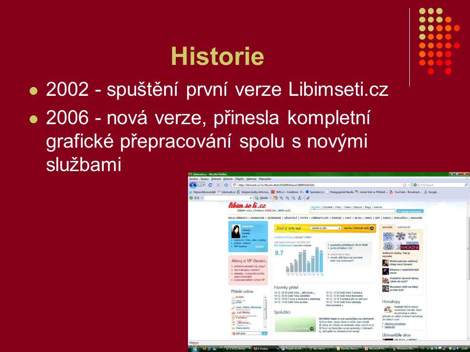 Historie 2002 - spuštění první verze Libimseti.cz 2006 - nová verze, přinesla kompletní grafické přepracování spolu s novými službami