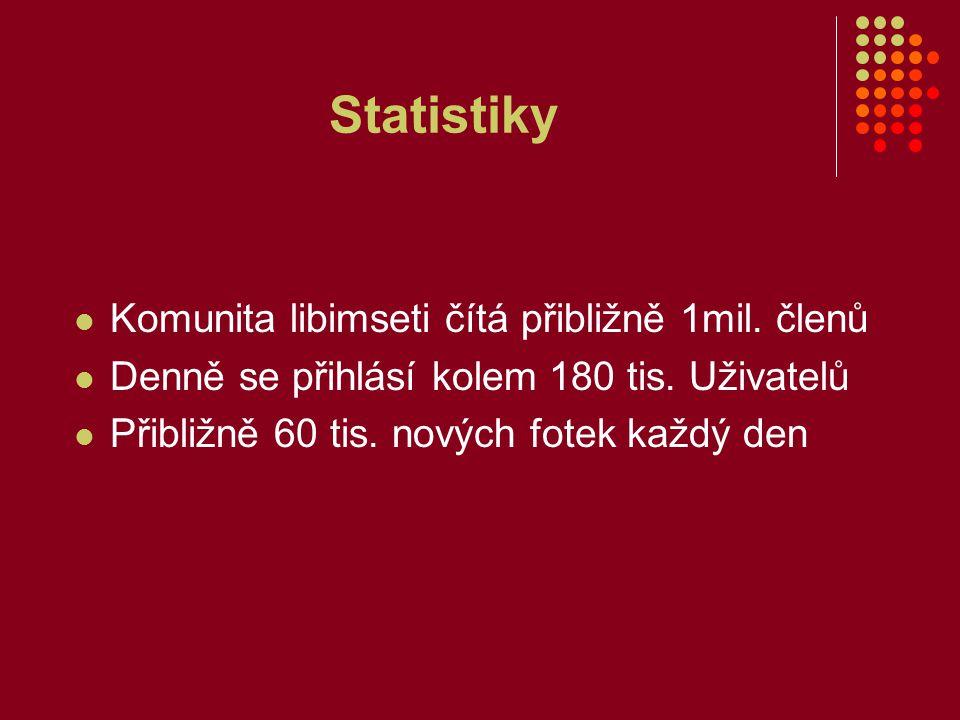 Statistiky Komunita libimseti čítá přibližně 1mil.