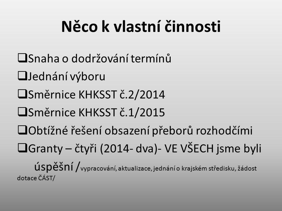 Něco k vlastní činnosti  Snaha o dodržování termínů  Jednání výboru  Směrnice KHKSST č.2/2014  Směrnice KHKSST č.1/2015  Obtížné řešení obsazení