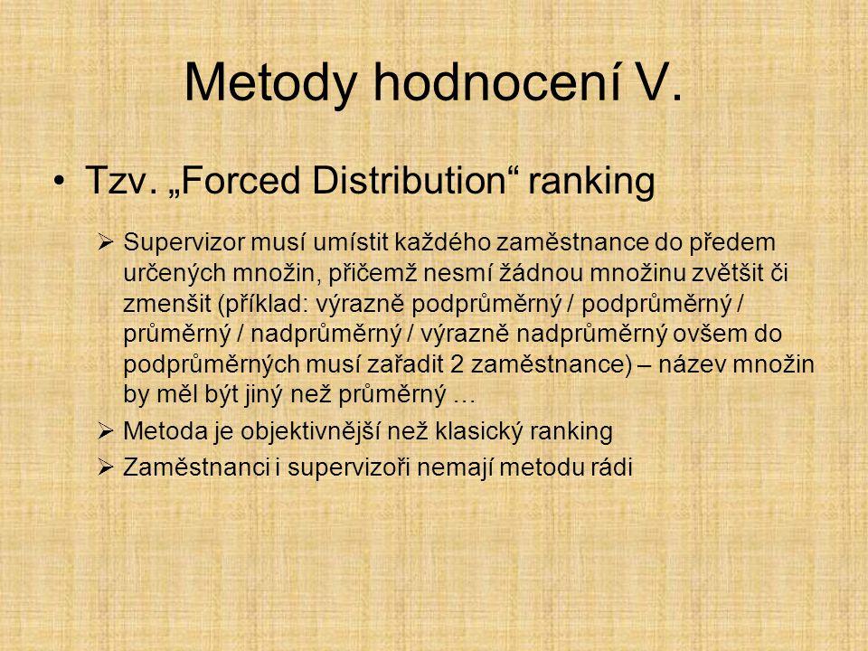 """Metody hodnocení V. Tzv. """"Forced Distribution"""" ranking  Supervizor musí umístit každého zaměstnance do předem určených množin, přičemž nesmí žádnou m"""