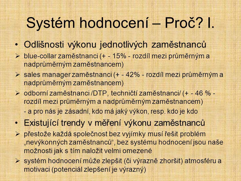 Systém hodnocení – Proč.II.