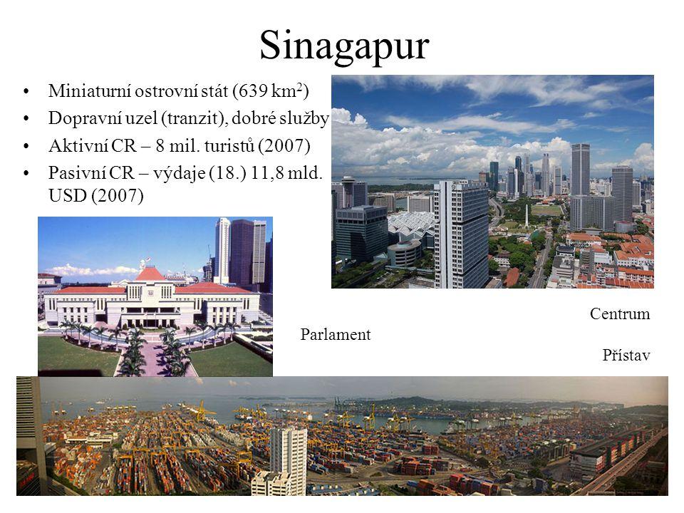 Sinagapur Miniaturní ostrovní stát (639 km 2 ) Dopravní uzel (tranzit), dobré služby Aktivní CR – 8 mil. turistů (2007) Pasivní CR – výdaje (18.) 11,8