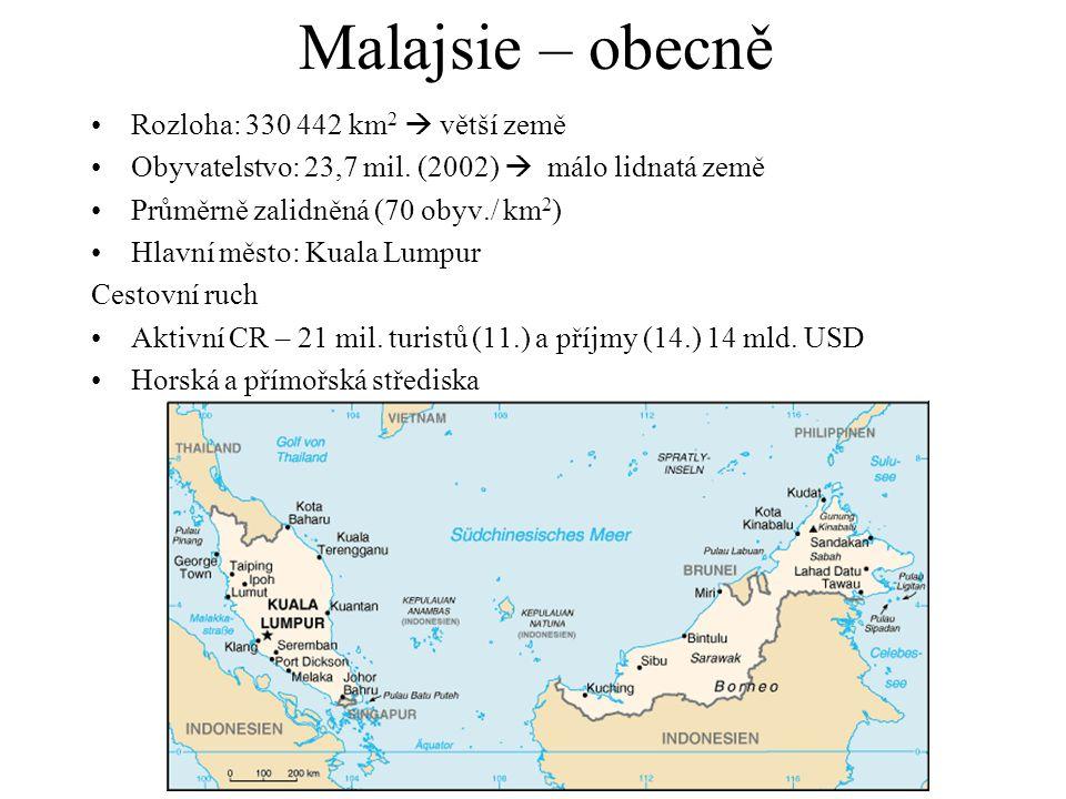 Malajsie – obecně Rozloha: 330 442 km 2  větší země Obyvatelstvo: 23,7 mil. (2002)  málo lidnatá země Průměrně zalidněná (70 obyv./ km 2 ) Hlavní mě