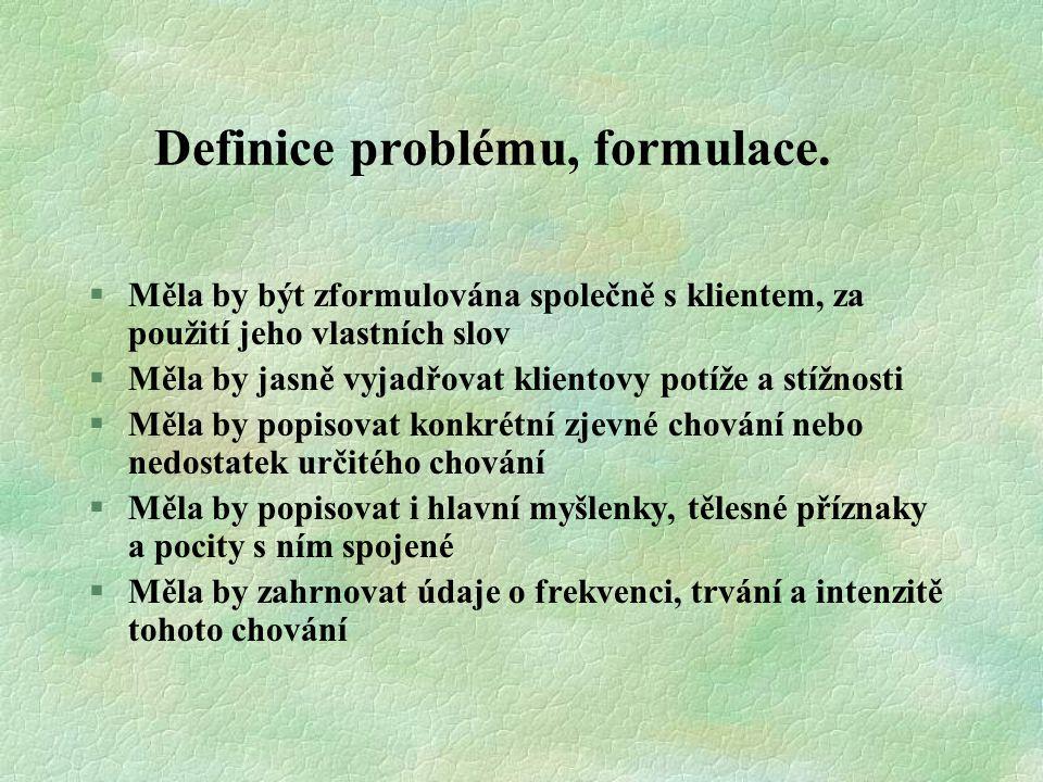Definice problému, formulace. §Měla by být zformulována společně s klientem, za použití jeho vlastních slov §Měla by jasně vyjadřovat klientovy potíže