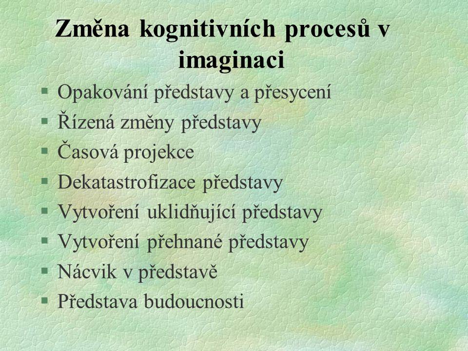 Změna kognitivních procesů v imaginaci §Opakování představy a přesycení §Řízená změny představy §Časová projekce §Dekatastrofizace představy §Vytvořen