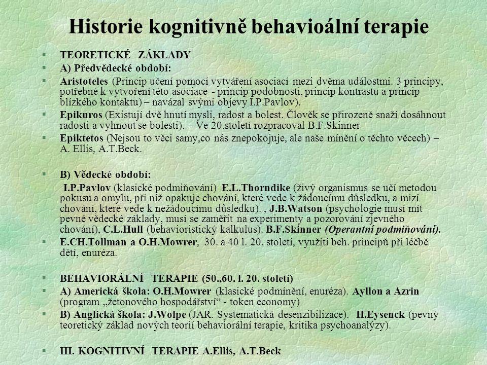 Historie kognitivně behavioální terapie §TEORETICKÉ ZÁKLADY §A) Předvědecké období: §Aristoteles (Princip učení pomocí vytváření asociací mezi dvěma u