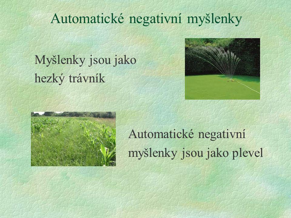 Automatické negativní myšlenky Myšlenky jsou jako hezký trávník Automatické negativní myšlenky jsou jako plevel