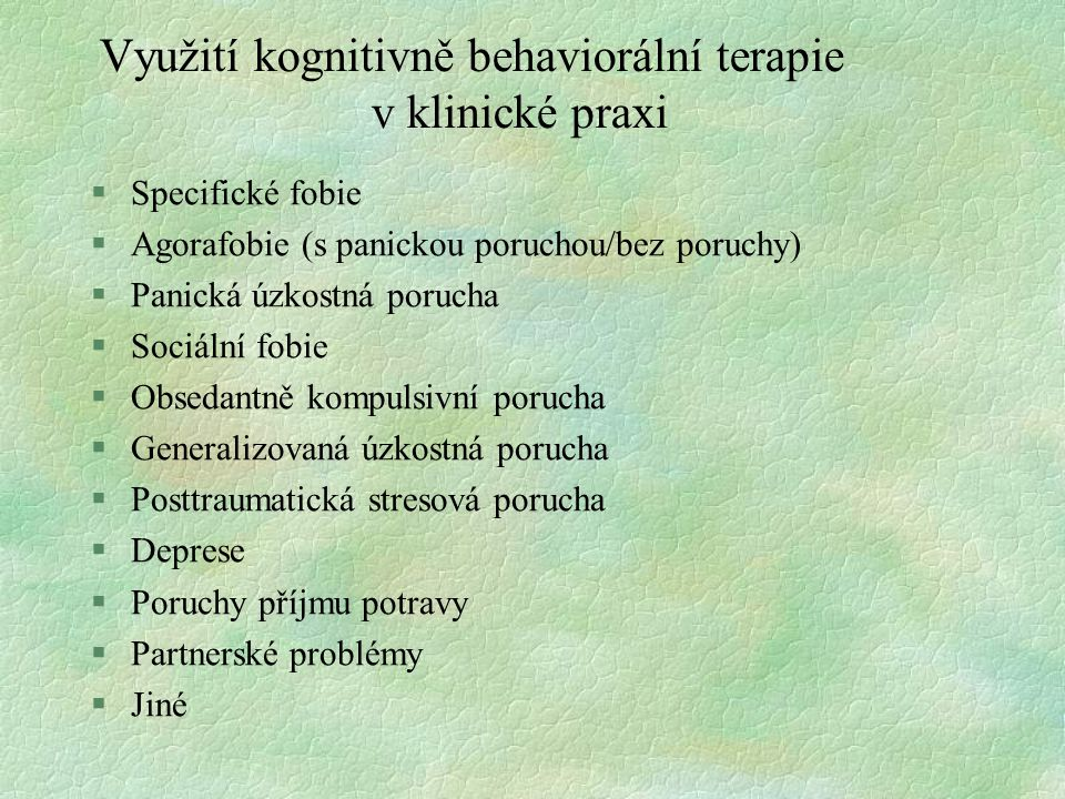 Využití kognitivně behaviorální terapie v klinické praxi §Specifické fobie §Agorafobie (s panickou poruchou/bez poruchy) §Panická úzkostná porucha §So