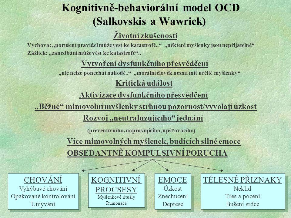"""Kognitivně-behaviorální model OCD (Salkovskis a Wawrick) Životní zkušenosti Výchova: """"porušení pravidel může vést ke katastrofě.."""" """"některé myšlenky j"""