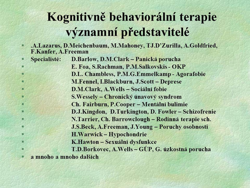 Kognitivně behaviorální terapie významní představitelé §.A.Lazarus, D.Meichenbaum, M.Mahoney, TJ.D'Zurilla, A.Goldfried, F.Kanfer, A.Freeman §Speciali