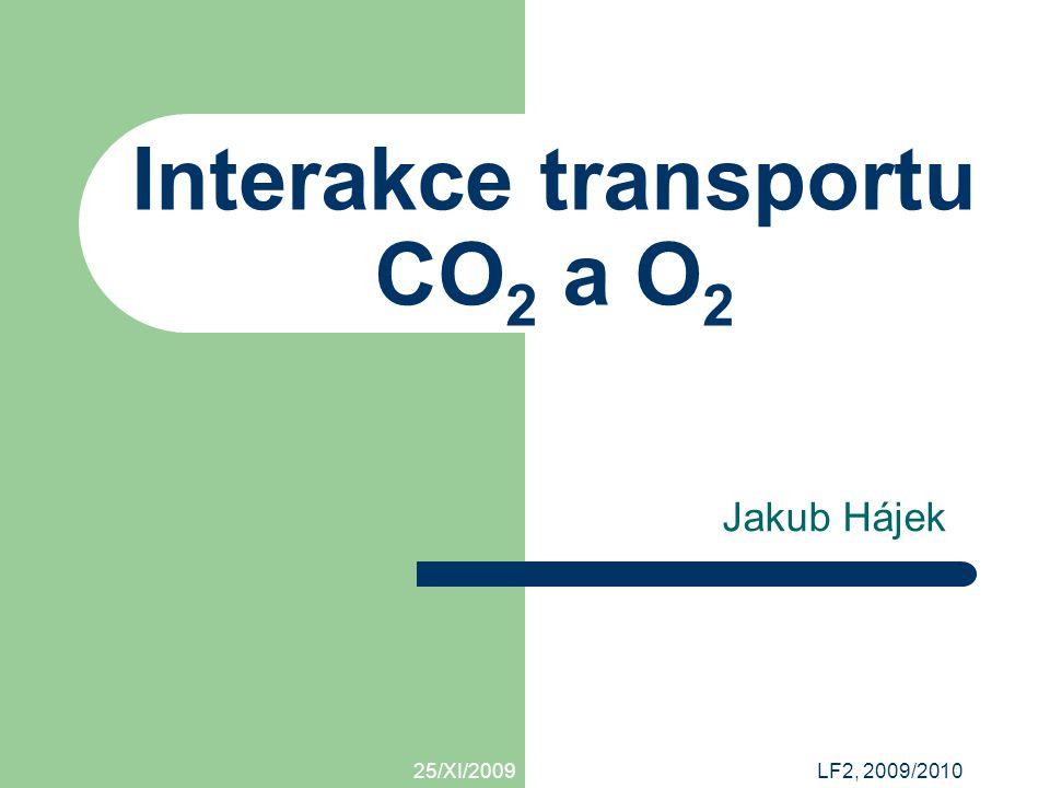 25/XI/2009 Interakce transportu O2 a CO2 / Jakub Hájek Transport O 2 hemoglobin – přenos O 2 1l krve = 150 g Hb 1 molekula Hb = 4 molekuly O 2 1 g Hb = 1.3 ml O 2 uvolnění závisí na parciálním tlaku O 2