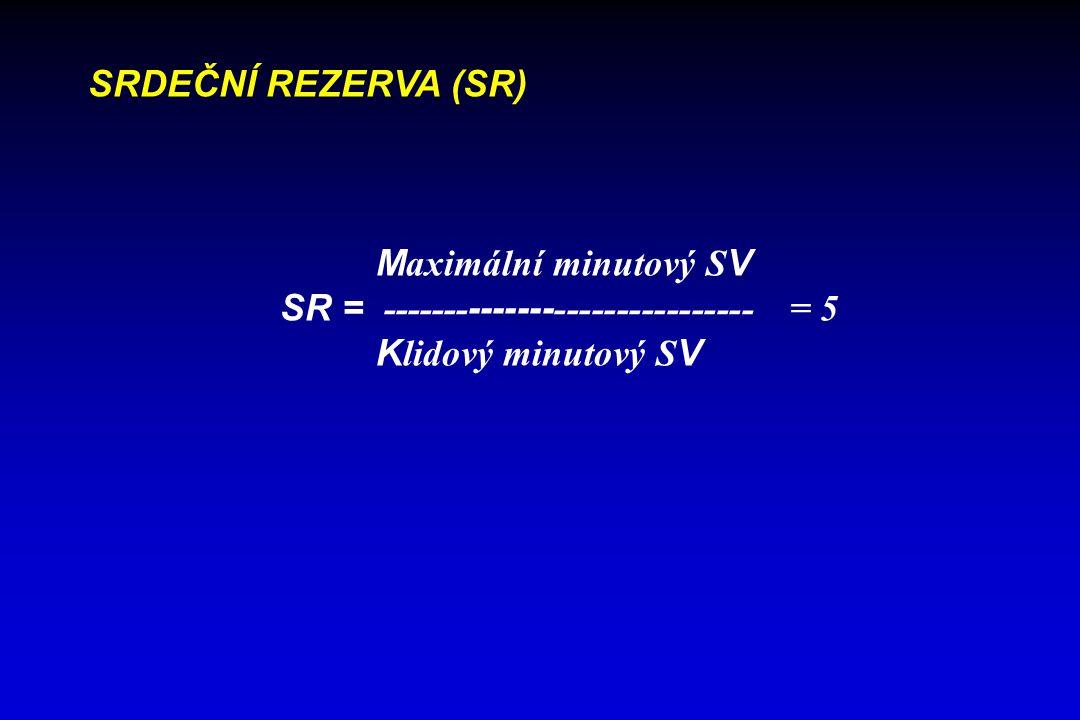 SRDEČNÍ REZERVA (SR) M aximální minutový S V SR = ------- ------- ---------------- = 5 K lidový minutový S V