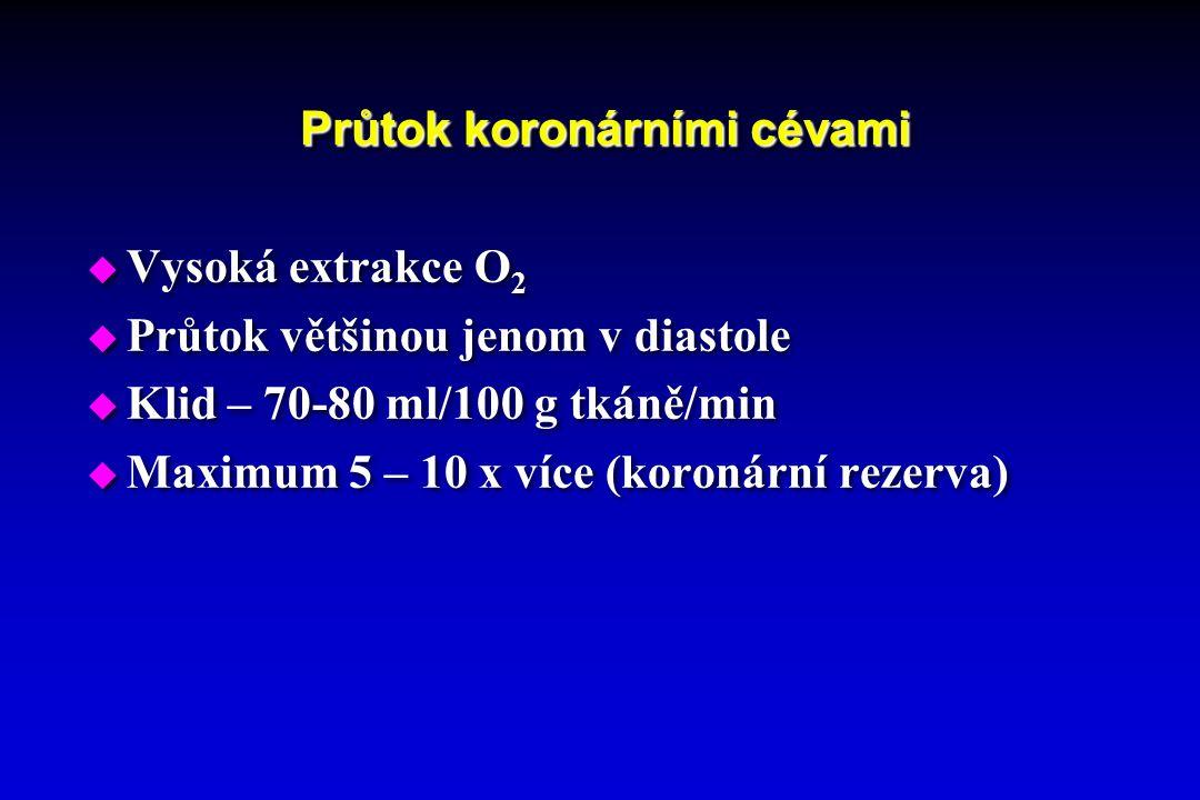 Průtok koronárními cévami  Vysoká extrakce O 2  Průtok většinou jenom v diastole  Klid – 70-80 ml/100 g tkáně/min  Maximum 5 – 10 x více (koronární rezerva)  Vysoká extrakce O 2  Průtok většinou jenom v diastole  Klid – 70-80 ml/100 g tkáně/min  Maximum 5 – 10 x více (koronární rezerva)