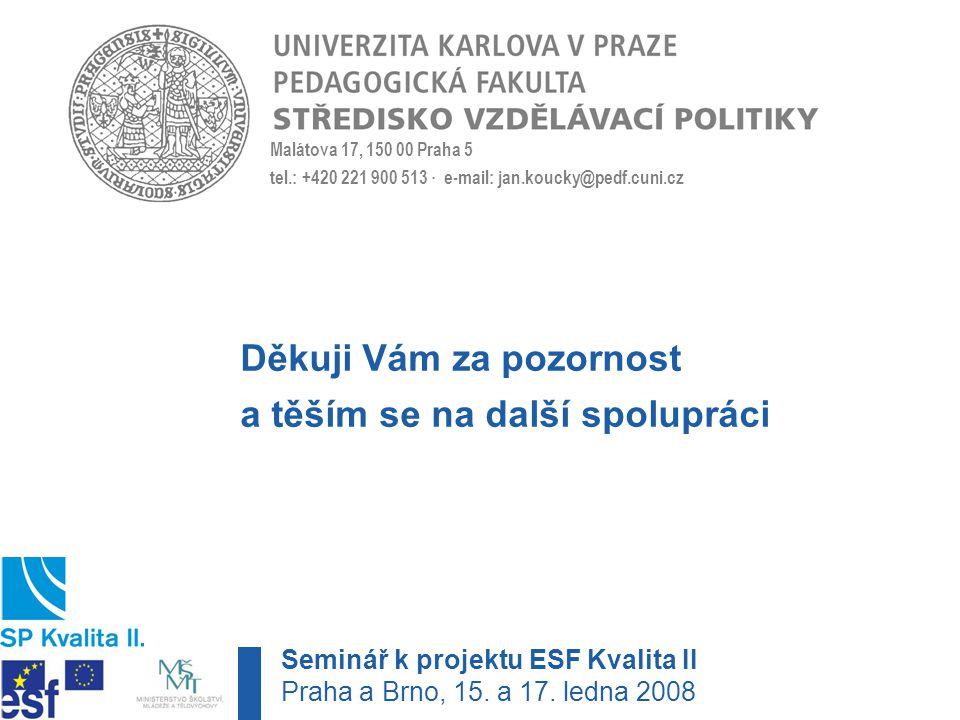Malátova 17, 150 00 Praha 5 tel.: +420 221 900 513 · e-mail: jan.koucky@pedf.cuni.cz Děkuji Vám za pozornost a těším se na další spolupráci Seminář k projektu ESF Kvalita II Praha a Brno, 15.