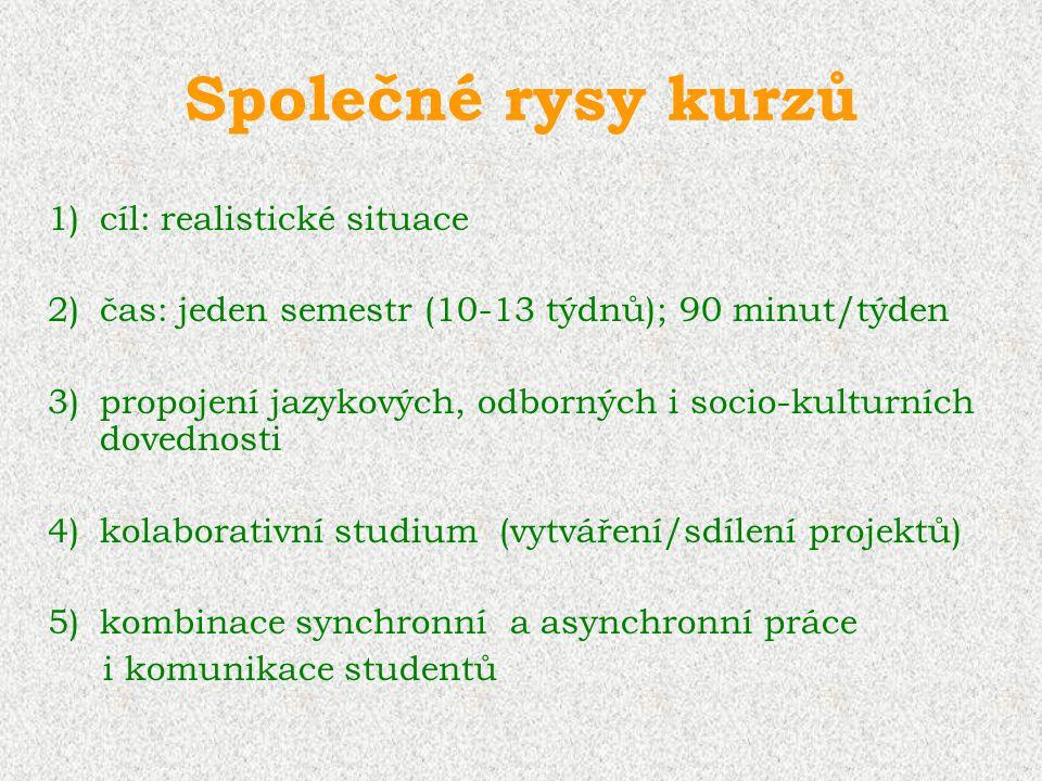 Společné rysy kurzů 1)cíl: realistické situace 2)čas: jeden semestr (10-13 týdnů); 90 minut/týden 3)propojení jazykových, odborných i socio-kulturních