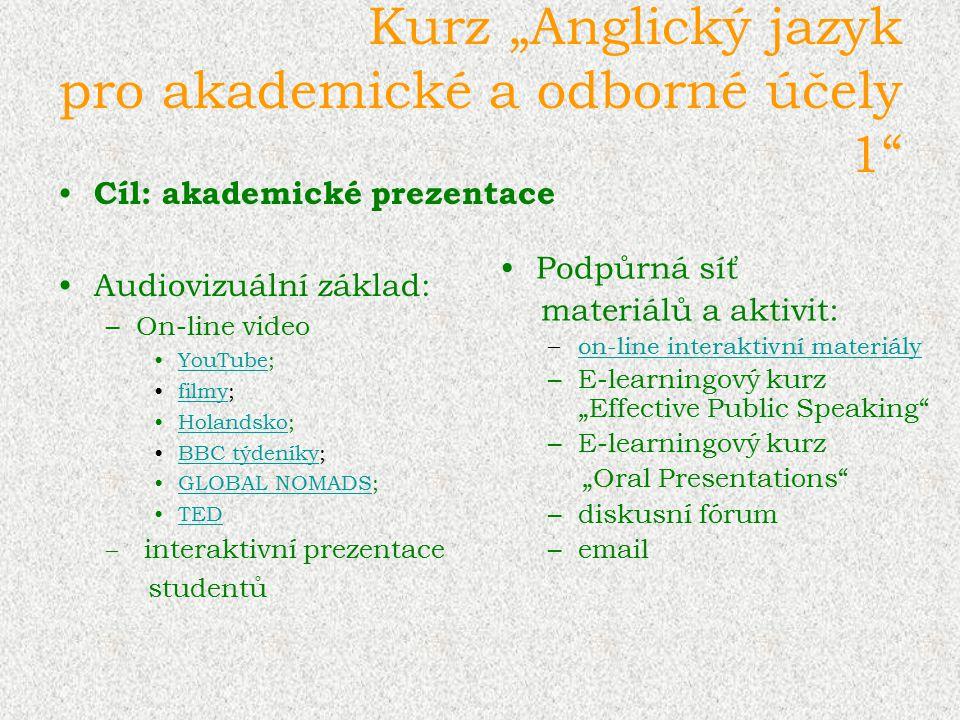 """Kurz """"Anglický jazyk pro akademické a odborné účely 1"""" Cíl: akademické prezentace Audiovizuální základ: –On-line video YouTube;YouTube filmy;filmy Hol"""