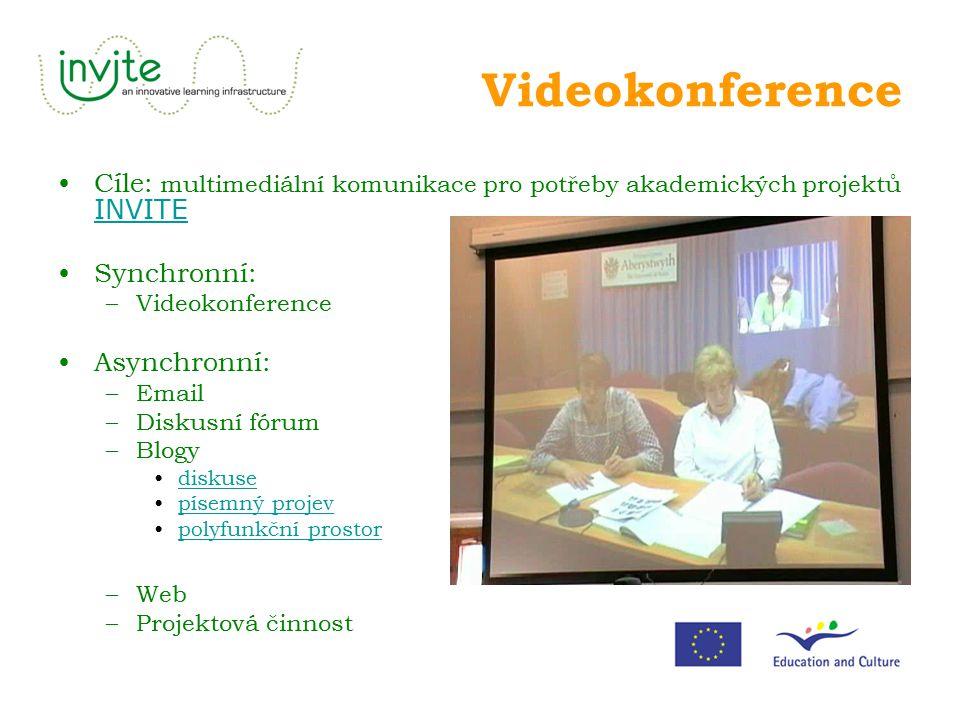 Videokonference Cíle: multimediální komunikace pro potřeby akademických projektů INVITE INVITE Synchronní: –Videokonference Asynchronní: –Email –Disku