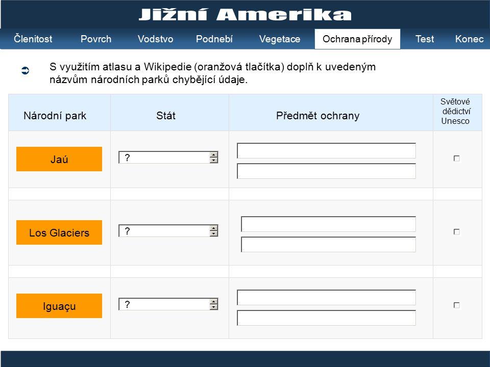  S využitím atlasu a Wikipedie (oranžová tlačítka) doplň k uvedeným názvům národních parků chybějící údaje. StátPředmět ochrany Světové dědictví Unes