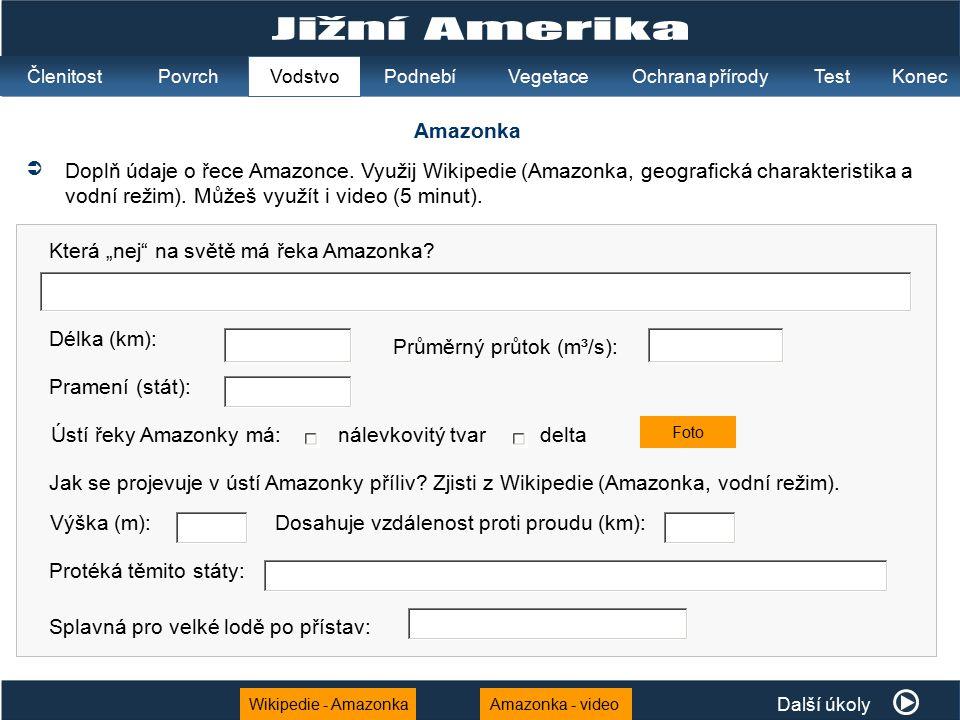 Wikipedie - AmazonkaAmazonka - video Amazonka  Doplň údaje o řece Amazonce. Využij Wikipedie (Amazonka, geografická charakteristika a vodní režim). M