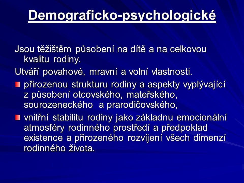 Demograficko-psychologické Jsou těžištěm působení na dítě a na celkovou kvalitu rodiny. Utváří povahové, mravní a volní vlastnosti. přirozenou struktu