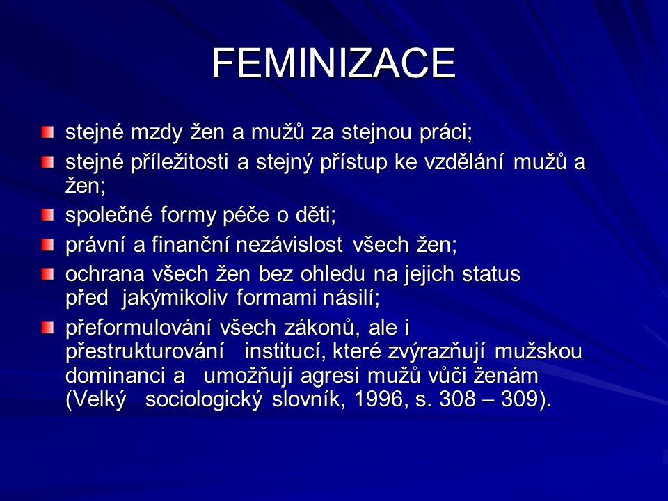 FEMINIZACE stejné mzdy žen a mužů za stejnou práci; stejné příležitosti a stejný přístup ke vzdělání mužů a žen; společné formy péče o děti; právní a
