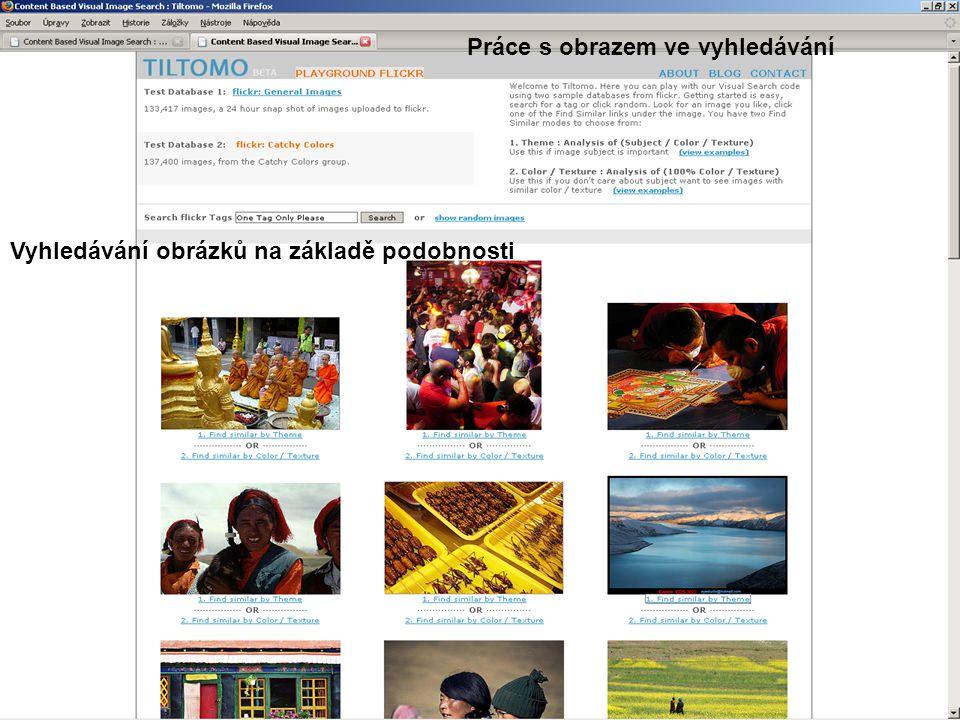 Vyhledávání obrázků na základě podobnosti Práce s obrazem ve vyhledávání