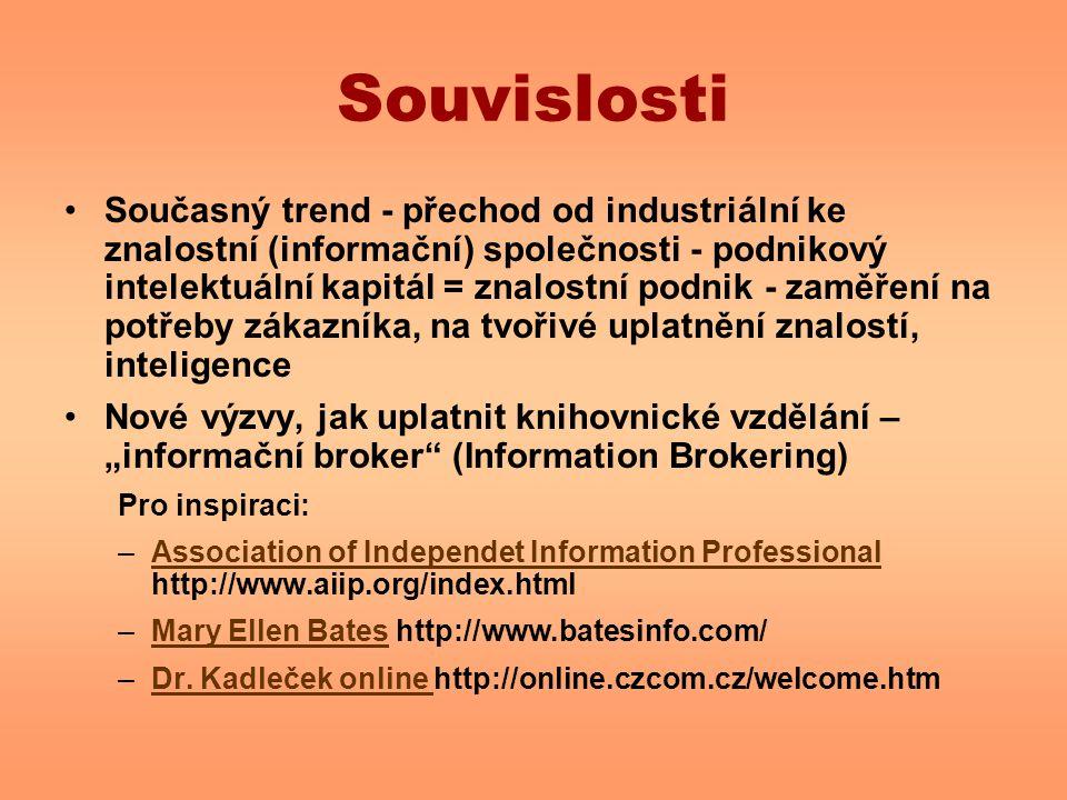 Souvislosti Současný trend - přechod od industriální ke znalostní (informační) společnosti - podnikový intelektuální kapitál = znalostní podnik - zamě