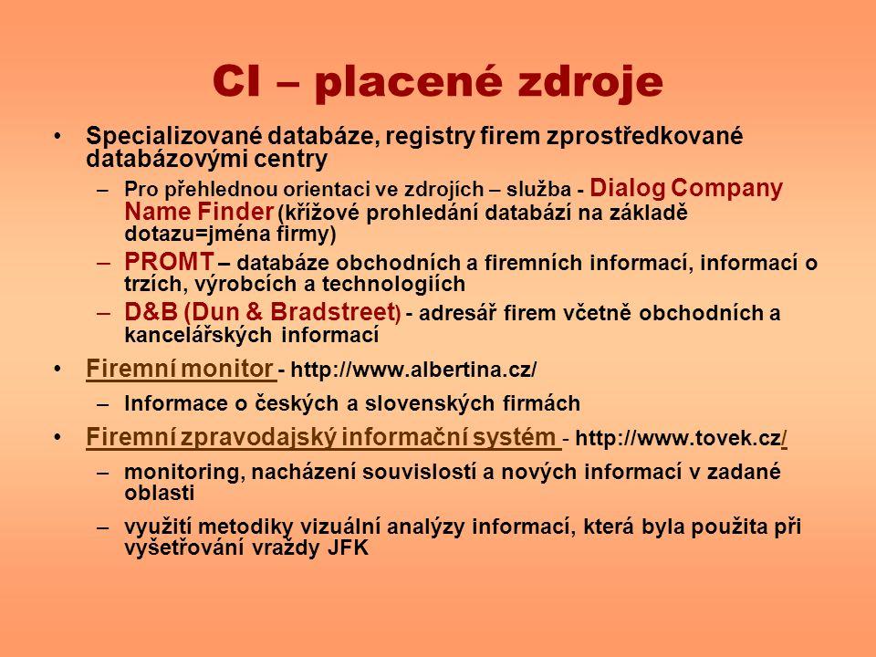 CI – placené zdroje Specializované databáze, registry firem zprostředkované databázovými centry –Pro přehlednou orientaci ve zdrojích – služba - Dialog Company Name Finder (křížové prohledání databází na základě dotazu=jména firmy) –PROMT – databáze obchodních a firemních informací, informací o trzích, výrobcích a technologiích –D&B (Dun & Bradstreet ) - adresář firem včetně obchodních a kancelářských informací Firemní monitor - http://www.albertina.cz/Firemní monitor –Informace o českých a slovenských firmách Firemní zpravodajský informační systém - http://www.tovek.cz/Firemní zpravodajský informační systém / –monitoring, nacházení souvislostí a nových informací v zadané oblasti –využití metodiky vizuální analýzy informací, která byla použita při vyšetřování vraždy JFK