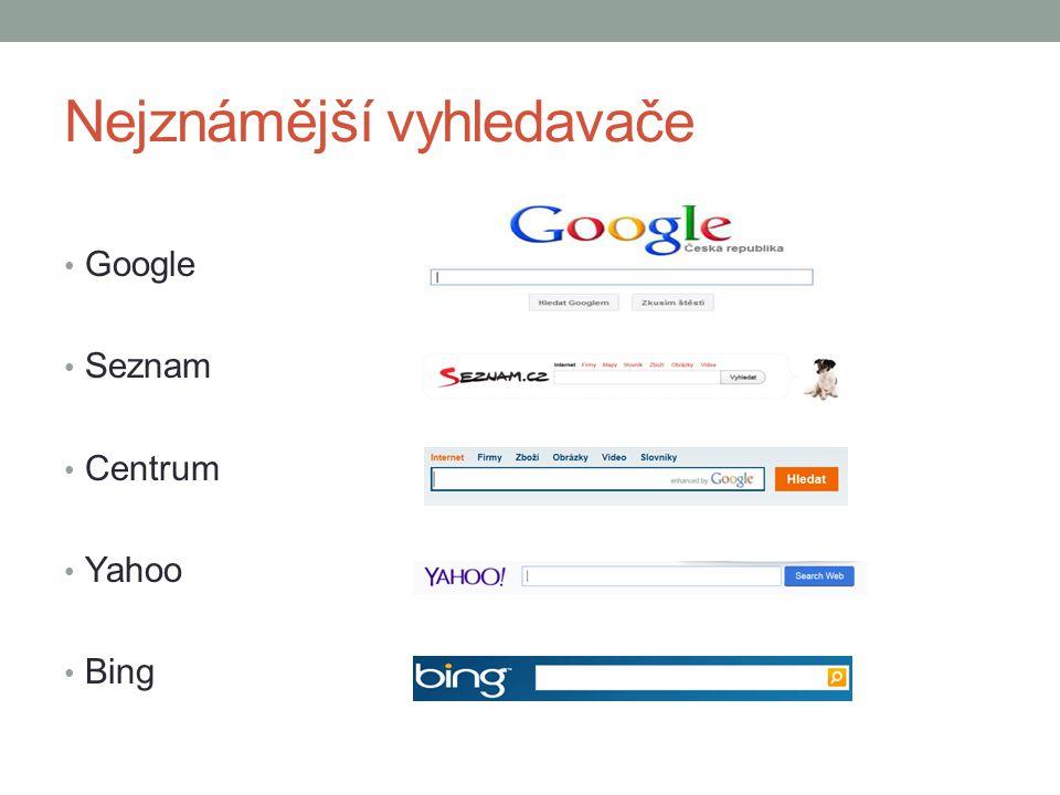 Nejznámější vyhledavače Google Seznam Centrum Yahoo Bing
