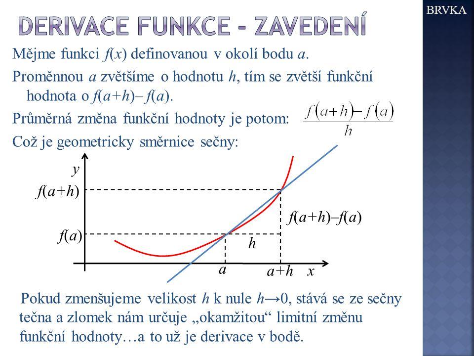 BRVKA Mějme funkci f(x) definovanou v okolí bodu a. Proměnnou a zvětšíme o hodnotu h, tím se zvětší funkční hodnota o f(a+h)– f(a). Průměrná změna fun