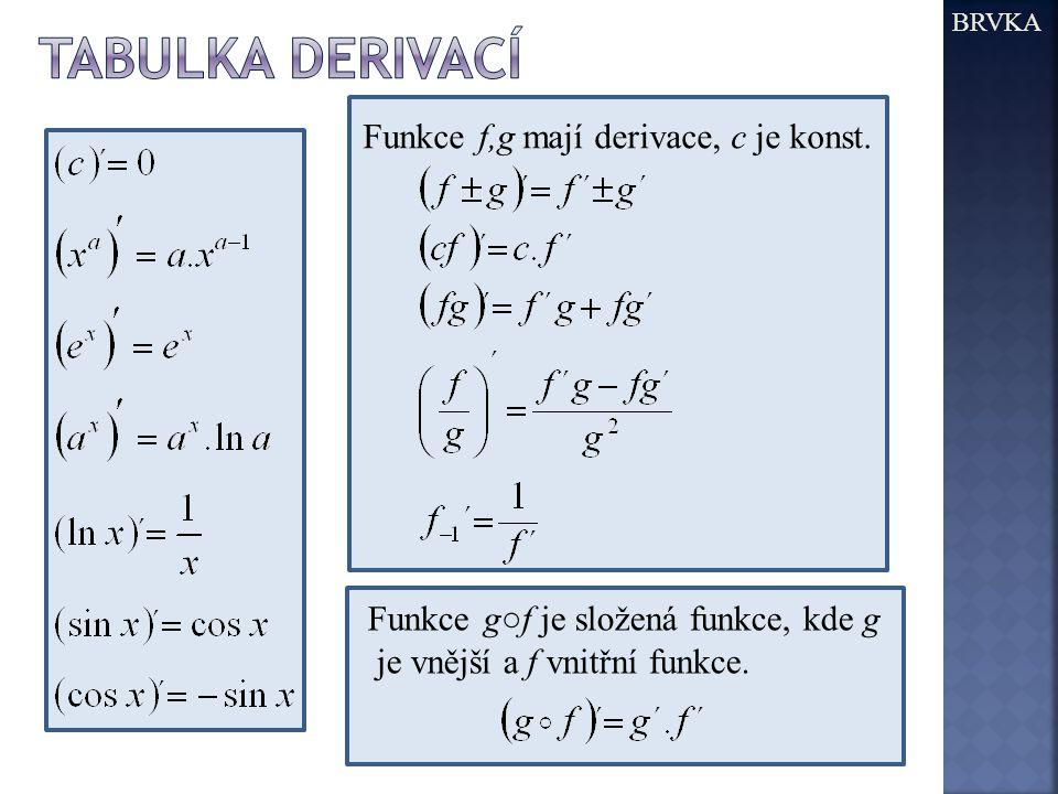 BRVKA Funkce f,g mají derivace, c je konst. Funkce g○f je složená funkce, kde g je vnější a f vnitřní funkce.