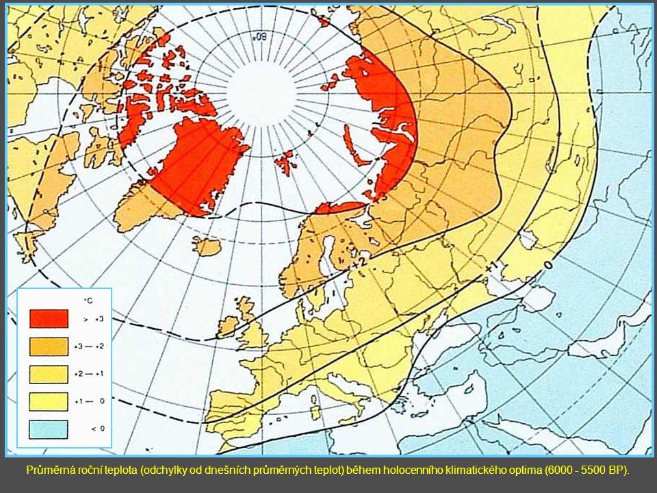 Průměrná roční teplota (odchylky od dnešních průměrných teplot) během holocenního klimatického optima (6000 - 5500 BP).