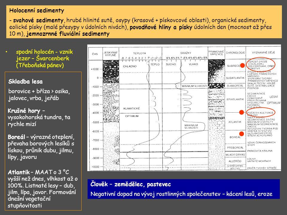 Holocenní sedimenty - svahové sedimenty, hrubé hlinité sutě, osypy (krasové + pískovcové oblasti), organické sedimenty, eolické písky (malé přesypy v