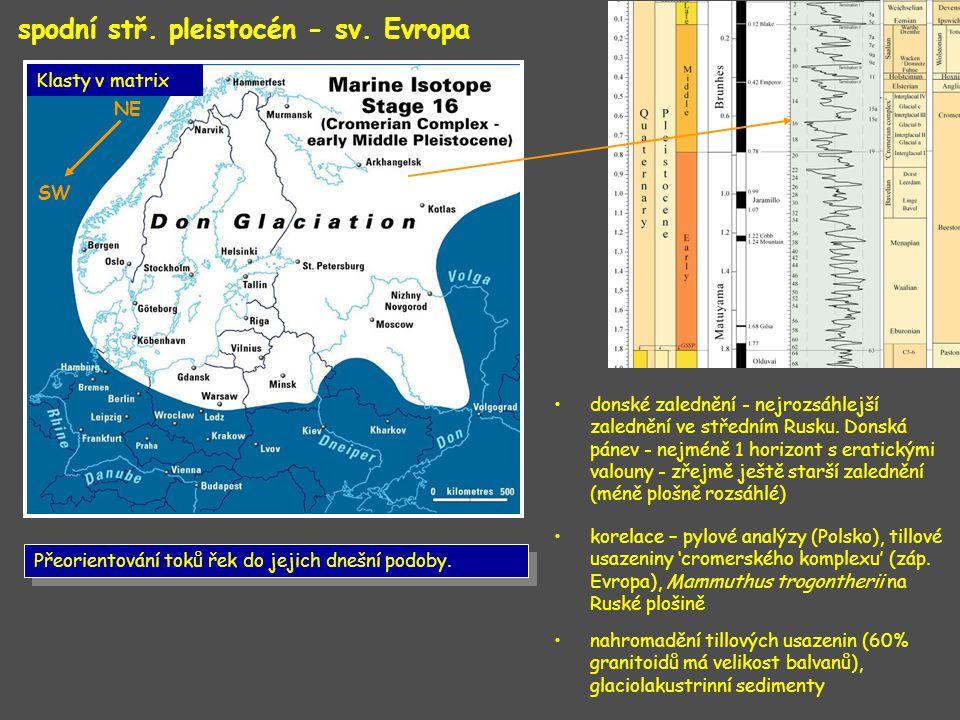 spodní stř. pleistocén - sv. Evropa donské zalednění - nejrozsáhlejší zalednění ve středním Rusku. Donská pánev - nejméně 1 horizont s eratickými valo