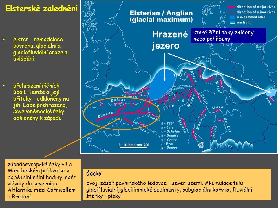 Elsterské zalednění západoevropské řeky v La Mancheském průlivu se v době minimální hadiny moře vlévaly do severního Altlantiku mezi Cornwallem a Bret