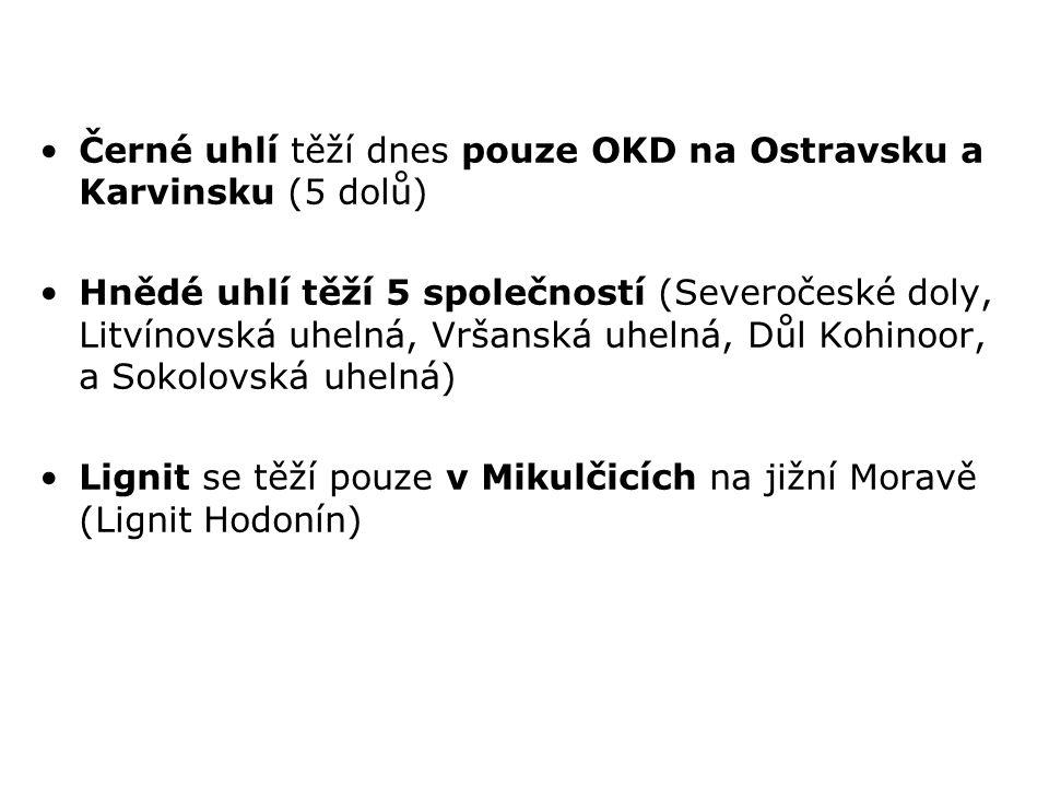 Černé uhlí těží dnes pouze OKD na Ostravsku a Karvinsku (5 dolů) Hnědé uhlí těží 5 společností (Severočeské doly, Litvínovská uhelná, Vršanská uhelná,