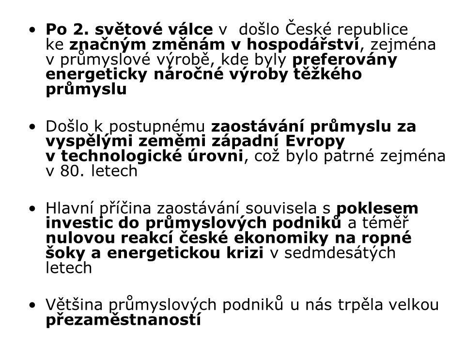 Po 2. světové válce v došlo České republice ke značným změnám v hospodářství, zejména v průmyslové výrobě, kde byly preferovány energeticky náročné vý