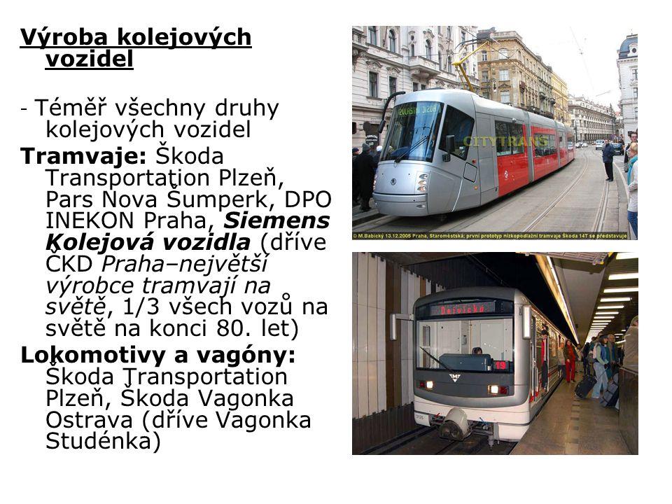 Výroba kolejových vozidel - Téměř všechny druhy kolejových vozidel Tramvaje: Škoda Transportation Plzeň, Pars Nova Šumperk, DPO INEKON Praha, Siemens